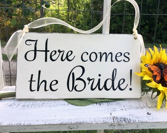 WEDDING SIGNS | Here comes the Bride | Bride and Groom | Mr and Mrs | Wood Wedding Signs | Flower Girl Signs | 6 x 11.5