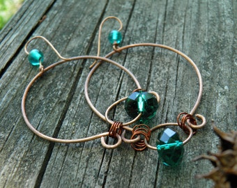 Emerald Roundabout Hoop Earrings