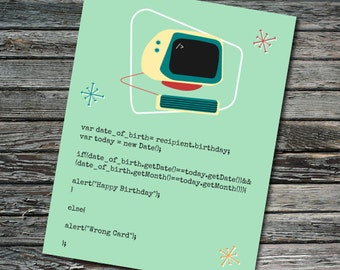 Javascript Nerdy Computer Birthday Card | Programmer, Web Developer, Professor, Student