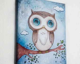 Owl Canvas Painting / Nursery Wall Art / Art Décor / Kawaii Art / 8x10 Canvas