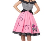 Ladies Rock and Roll 1950's Grease Dress Pink Lady costume 6 8 10 12 14 16