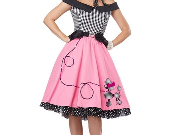 Ladies Rock and Roll 1950's Grease Dress Pink Lady costume 4 6 8 10 12 14