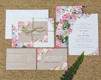 SAMPLE: Country English Eccentric Wedding Invitation Set with RSVP, Envelope and String. – UK