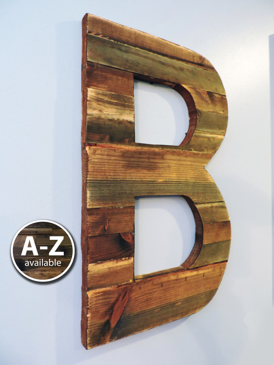 Large wood letters rustic letter cutout custom wooden wall - Wood letter wall decor ...