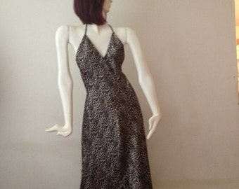 Brown Patterned Backless Maxi Dress