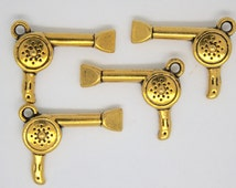 BULK 40 Hair drier charm/ Hairdresser Blow Dryer Charms. Antique GOLD Color.