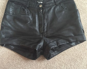 Vintage Warehouse, Black Leather Hotpants.