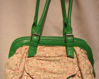 Green Leather and Polka Dot Purse