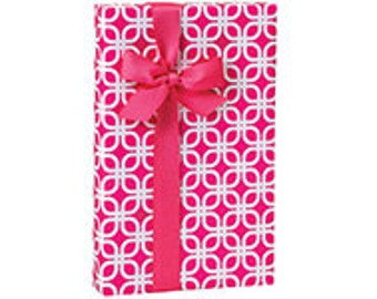 """Hot Pink Links Wrap Paper 24""""x85' Recycled Packaging, Retail, Baby Shower Wrapping Paper Roll"""