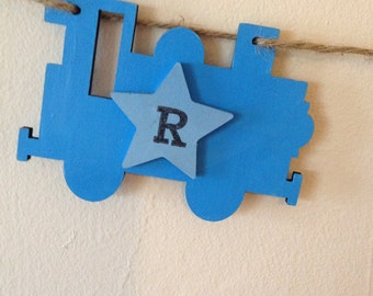 Personalised, Wooden,  Train Bunting, name