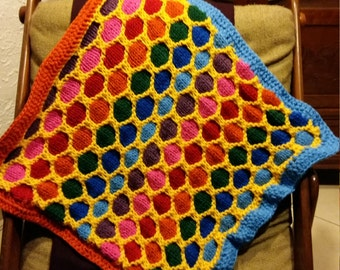 Quilt for baby diaper type / Rainbow Knitted Baby Blanket