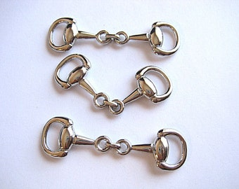 3 Medium Silver Plated High Quality Snaffle Bit--Make Fabulous Equestrian Jewelry