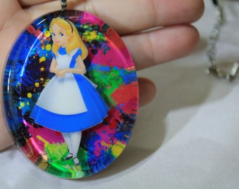 "Resin Necklace Alice in Wonderland ""In a world of color!"""