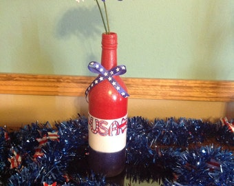 USA 4th of July Wine Bottle