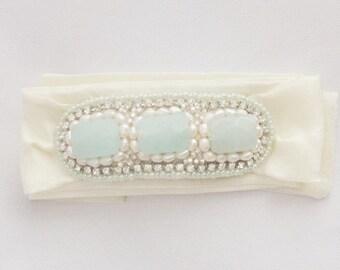 Tie Bracelet in seafoam/ivory