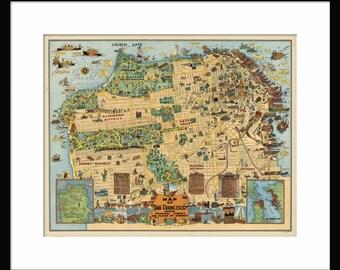 San Francisco Street Map - Poster - Print - Cartoon Map - Vintage Map