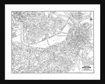 Boston Vintage Map - Boston - White - Print - Poster
