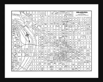 Philadelphia Vintage Map - Philadelphia - White - Print - Poster