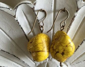 Yellow Howlite Earrings