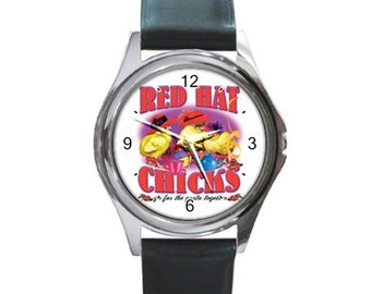 Red Hat Chicks    Round Metal funny Watch
