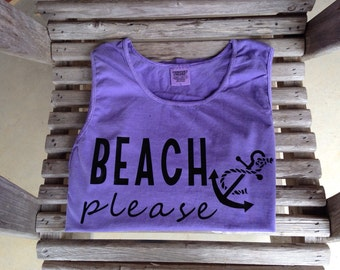 Beach please comfort colors tank