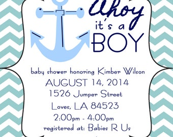 Ahoy its a Boy Blue Anchor Baby Shower Invitation Digital Download File