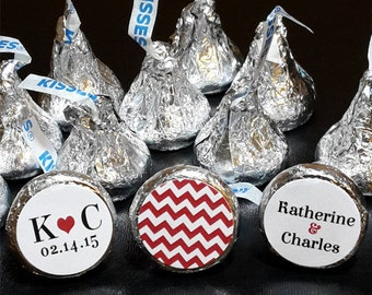 108 Hershey Kiss® Stickers - Wedding Favors, Shower Favors, Favor Labels, Bride and Groom, Chevron, Hershey® favors