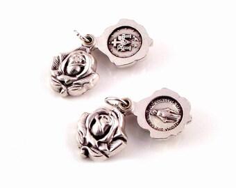 Miraculous Medal Sliding Silver Rose Locket Religious Medal | Italian Rosary Parts