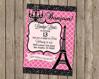 Paris Birthday Party Invitation in Pink and Black with Chandelier and Eiffel Tower - printable 5x7