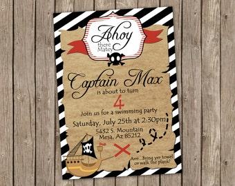 Pirate Birthday Party invitation - printable 5x7