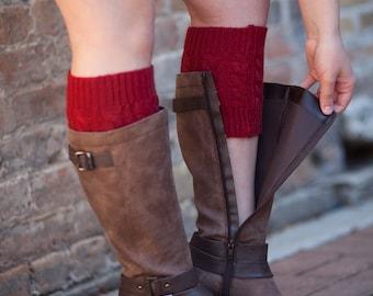 Knit Boot Cuffs Burgundy by Modern Boho