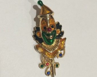Vintage Golden Clown Brooch