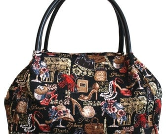 Tapestry Handbag Glamour Leather Goblin 30x38cm (11.8 X 14.9 inches)