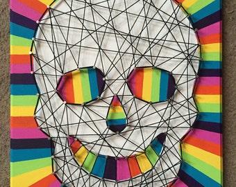 Colorful skull string art