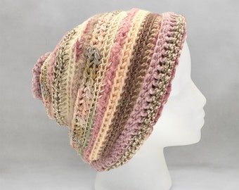 Light Pink and Beige Crochet Beanie