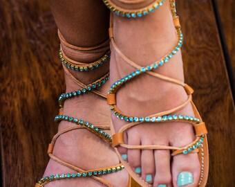 Tie up leather sandals with Swarovski strass