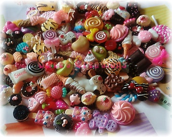 25pc Miniature Sweets Dessert Decoden Kawaii Cabochons Flatback Resin Fake Food