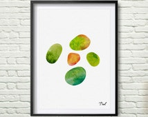 Stone painting nature Art wall decor fashion room decor wall art for new house Stone Watercolor Stone wall art wall hanging  P016
