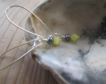 Yello and Grey Drop Earrings