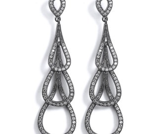 Black Rhodium Triple Teardrop Dangle Earrings - 3 Drop Journey Sterling Silver Cubic Zirconia CZ