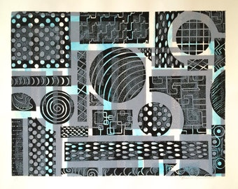 Original Handmade Abstract Mixed Media Turquoise, Gray, and Black Monoprint on Paper