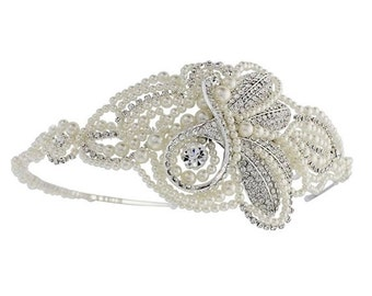Luxury Pearl & Crystal Head band, bridal jewellery, bridal hair accessories