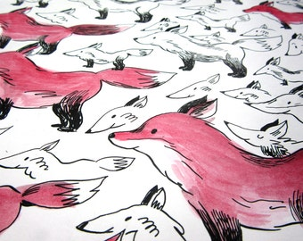 Dessin original - Les renards