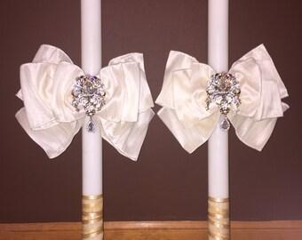 Greek Serbian Orthodox Candles Lambades/Lambathes Wedding Baptism Bow/Crystals/Bling (PAIR)