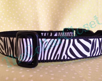 Zebra Print Animal Safari Pet Dog Collar SALE