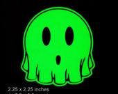 Ghost Glow in the Dark Decal / Sticker -2.25 x 2.25 Inch - Kawaii Cute Smilely - Macbooks, iPhones, Andriod, Halloween, Laptops, Windows