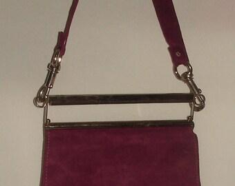 Burgandy Suede Messenger Bag With Silvertone Handle