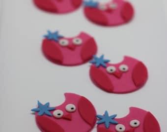 Fondant Owl Cupcake topper (12 pieces)