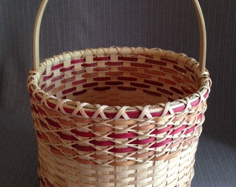 Handwoven Tall Cylindrical basket with handle