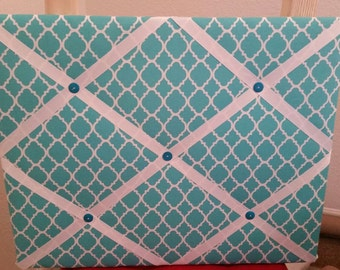 Modern teal and white photo memory board